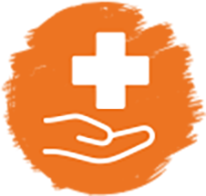 Results icon: hand and first aid cross against orange background