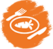 Meal Icon: white food, plate, fork, and knife against orange background